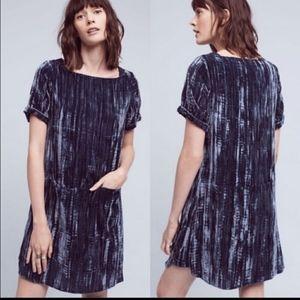 Anthropologie Blue Velvety dress with front pocket